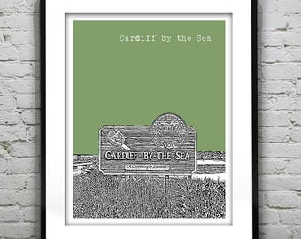 Cardiff by the Sea California Skyline Poster Art Print California CA