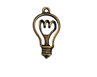 4 Light Bulb Charms | Bronze Lightbulb | Electrician Charm |  Bright Idea Charms | Bangle Charm | Ready to Ship USA | BR102-4