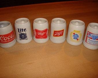 Lot Of Six Mini Ceramic Beer Steins