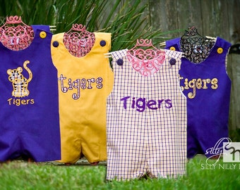LSU short or long jon jon's for boys in sizes 3m, 6m, 9m, 12m, 18m 2t, 3t, 4. Choose between gold, plaid, and purple by Silly Nilly Designs
