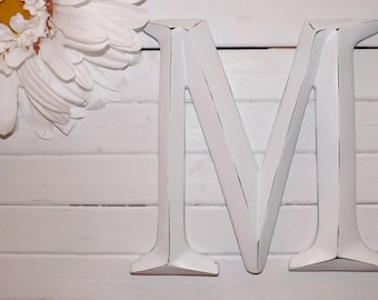 Large Letter M/ Capital Letter M/ Wall Letter / Initials / Photo Prop / Mantle / Wall Decor / Shabby Chic Decor