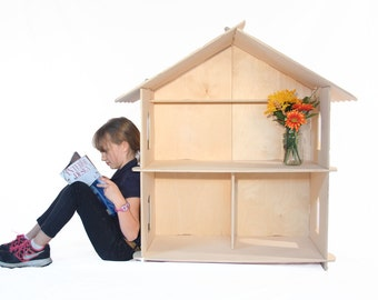 Natural Wood Puzzle Playhouse or Dollhouse