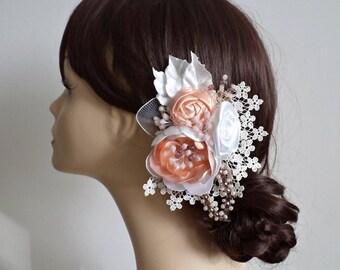 Bridal hair flower Flower hair clip Wedding hairpiece Peach flower Ivory flower Wedding hair flowers Hair accessories Peony Roses