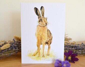 Hare Print Card - A5 Greeting Card