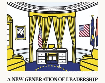 ROY LICHTENSTEIN - 'A new generation of leadership' - rare original poster - c1992 - large (Democratic National Convention) x