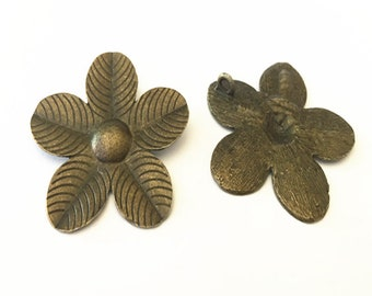 5pcs  Antique Bronze flowers pendant charm 50mm