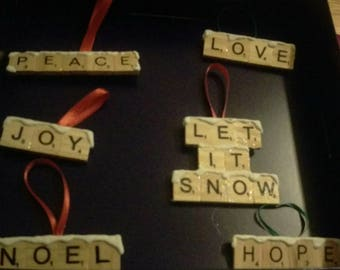 Letter Tile Ornaments; Custom Made Letter Tile Ornaments; Stocking Stuffers; Christmas Tree Ornaments; Holiday Gifts; Ready to Ship