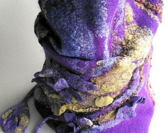 Designer outstanding felt cowl, fiber art scarf, wearable art loop, winter womens scarf, piece unique art, felted wool infinity scarf, art