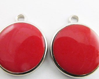 6 Vintage 27mm Red Pendants Charms Drops Pd261