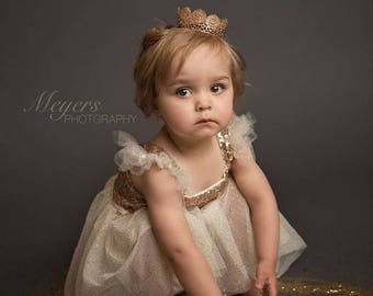 Gold Flower Girl Dress, Champagne Flower Girl Dress, Tutu Birthday Outfit, Flower Girl Tutu Dress..Cream, Gold Rustic Lace Dress