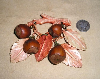 Vintage Celluloid Brooch With Real Hazel Nuts 1930's Jewelry 1047