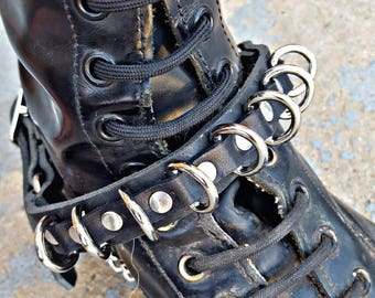 Mini D-Ring Real Leather Boot Strap