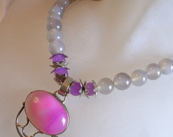 Pink - Gray Gemstone Necklace - Sterling Silver -  Purple Pink Lace Agate Pendant Set in Sterling Silver And Real Jade Beads