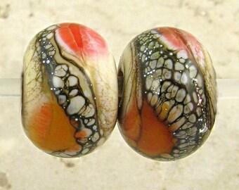 Glas Lampwork Bead paar Lippenstift rot Aprikosen und Elfenbein Matt 11x7mm geätzt weichen Feuer Velvet