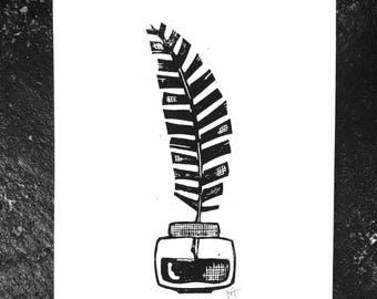 LINOCUT print - Ink well and feather quill pen - 8x10 black