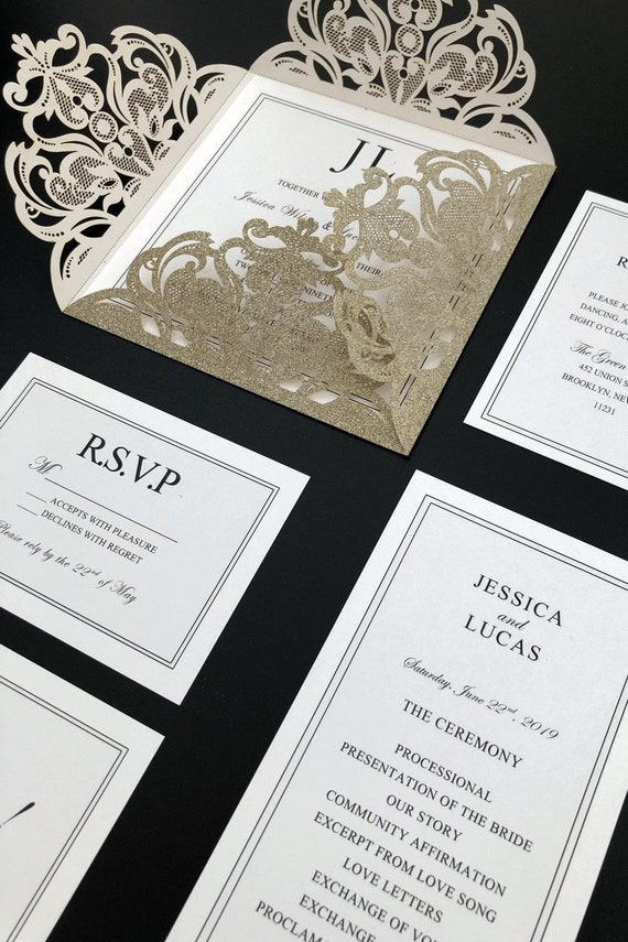 elegant glittery champagne gold laser cut wedding invitation