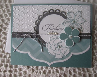 Handmade Greeting Card: Thinking Of You  (in Blue, Gray and White)(MADE TO ORDER)