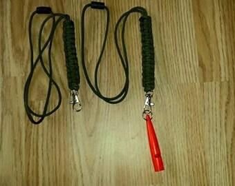 paracord dog walker / gamekeeper whistle lanyard