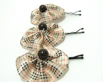Plaid satin flower hair bobby pins with bead center