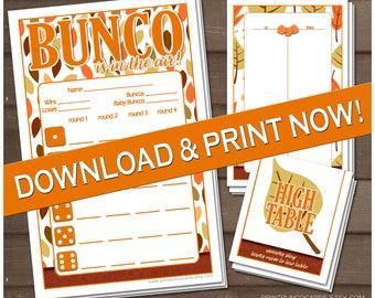 Printable Fall Bunco Set