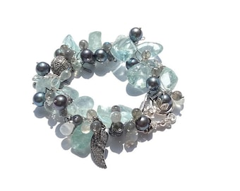Gemstone Bead Bracelet - Chunky Aquamarine & Sterling Silver Fringe Statement Bracelet With Pave Sapphire Angel Wing Charm