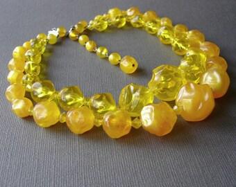 Primrose Yellow Beaded Necklace Huge Multi Strand Choker 2 Strands Buttercup Lemon Butterscotch Vintage W. Germany Plastic Acrylic Pantone
