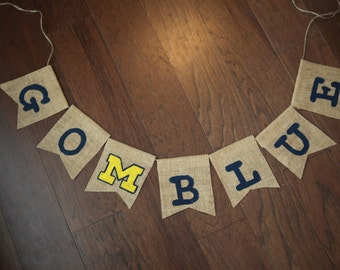University of Michigan Burlap Banner / Go Blue Banner
