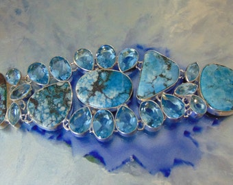 Turquoise and Blue Topaz Bracelet set in Sterling Silver
