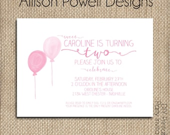 Girl Watercolor Balloon Birthday Party Invitation - Any age - Printed or Print you own - Custom Colors