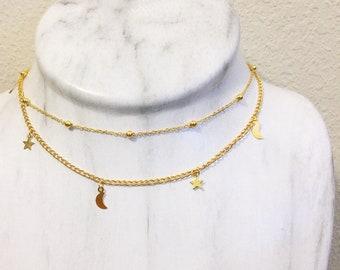 Moons & Stars Choker Necklace