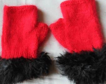 knit fingerless mittens, red, angora and fur, hand knitted, 18 cm height