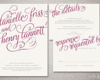 "Romantic Calligraphy ""Danielle"" Wedding Invitation Suite - Whimsy Modern Handwritten Script Invitations - Digital Printable / Printed Invite"