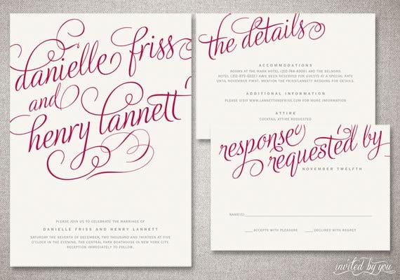 Romantic Calligraphy Danielle Wedding Invitation