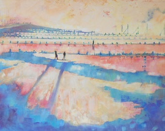 """Panoramic Oil Painting """"Evening Sun On the Beach"""" 40 x 20 inches. Original Art"""