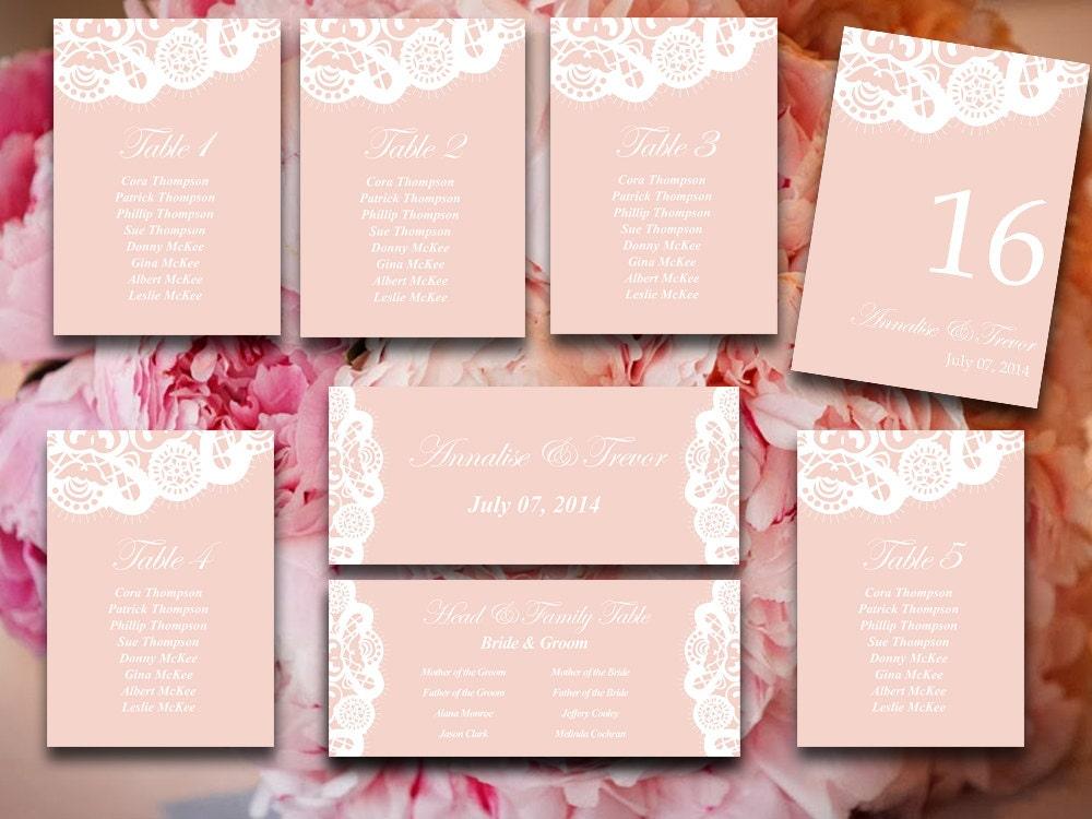 Vintage Lace Wedding Seating Chart Template Blush Pink