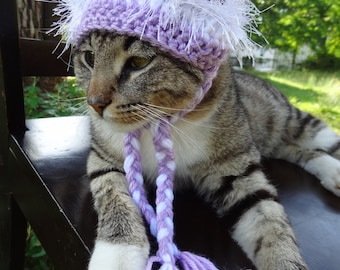 Custom Hat for Cats - The Lilac and White Wackadoodle Hat for Cats and Small Dogs