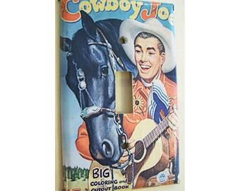 retro cowboy switch plate cover vintage 1950s western rockabilly kitsch light switch