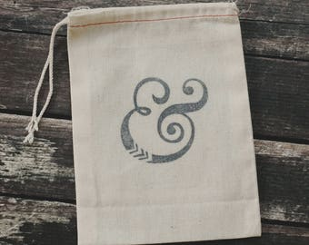 Ampersand Cloth Gift Bag - 10 Ampersand cotton tote bags, 5x7 cloth party bags - Ampersand - Ampersand Gift Wrap - Ampersand Stamp