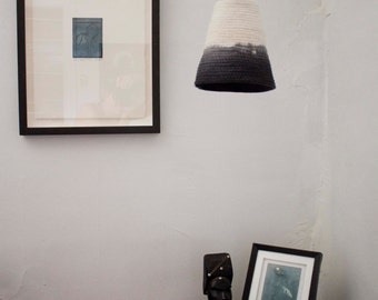 Rope lampshade dip-dye black (small)
