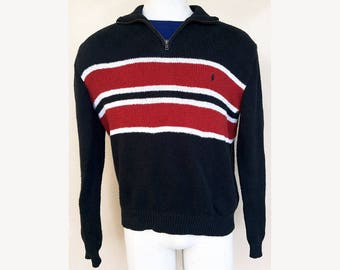 Striped Polo Sweater — 90s Polo Ralph Lauren Turtleneck with Zipper Mens XL Red White & Black Striped Zip Sweater — Turtleneck Sweater