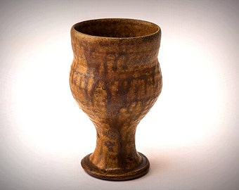 Handmade ceramic goblet fired in the wood firing kiln