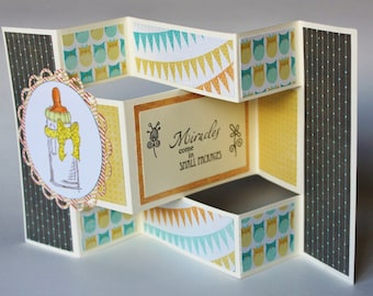 Handmade Card, Stamped Card, Unisex New Baby Card, Tri Shutter Card,