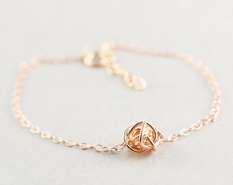 Rose Gold Knot Bracelet, Knotted Jewelry, Bridesmaid Gift, Tie The Knot