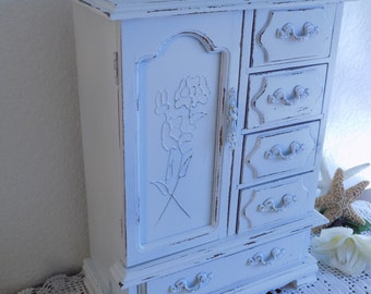White Jewelry Box Rustic Shabby Chic Distressed Beach Cottage Coastal Seaside Country Farmhouse Home Decor Birthday Gift Large Tall Vintage