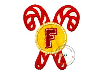 Christmas candy cane initial letter F- iron embroidered fabric applique patch embellishment- ready to ship