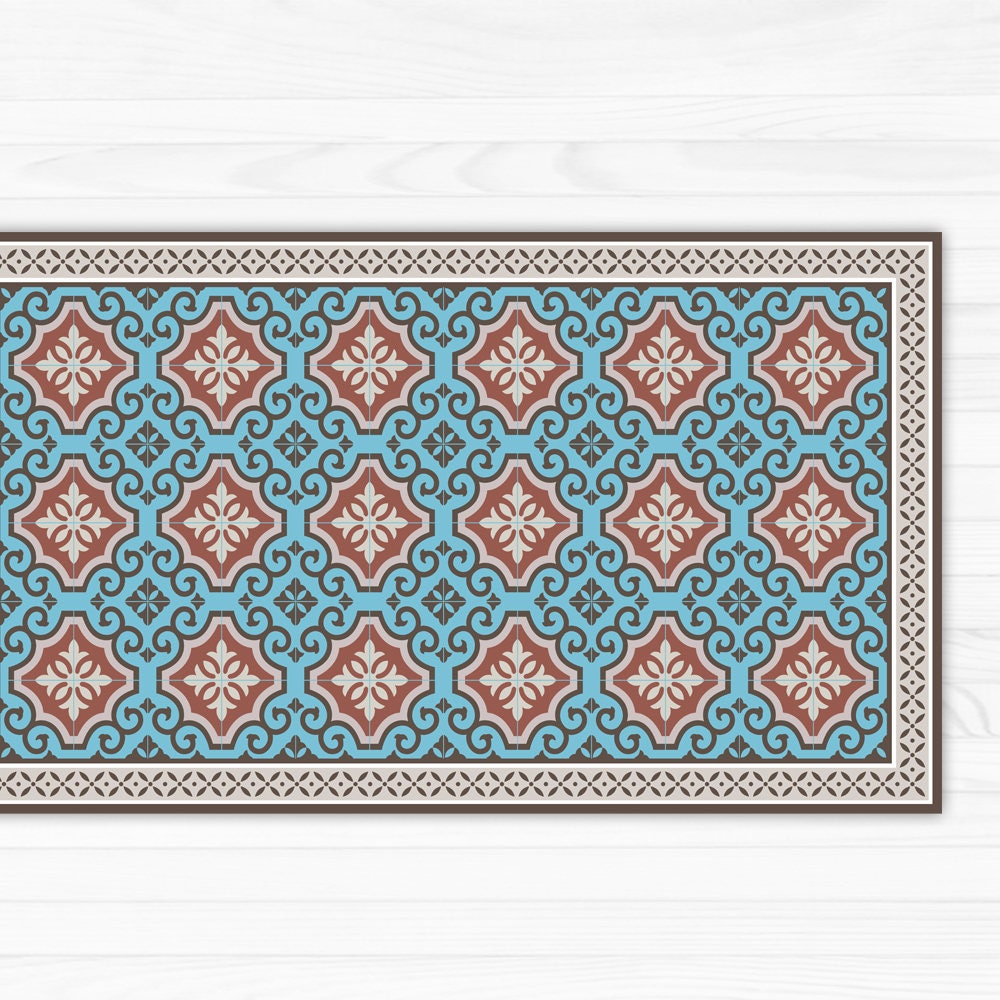 Vinyl Floor Mat Kitchen Mat With Tile Design In Turquoise: Linoleum Rug Turquoise & Terracotta Area Rug Or Kitchen Mat