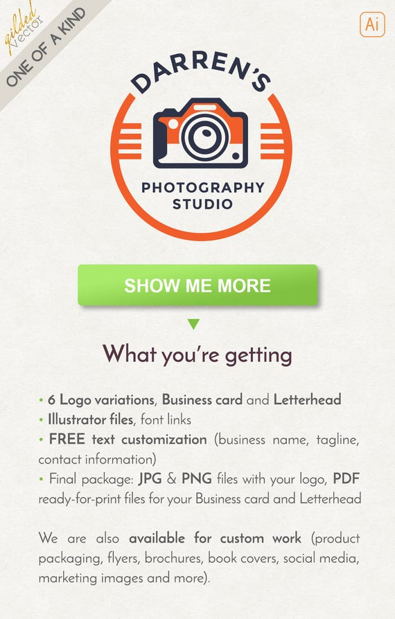 Photography logo design vintage logo personal brand logo reheart Images