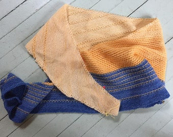 Handknit blue and yellow scarf/shawl