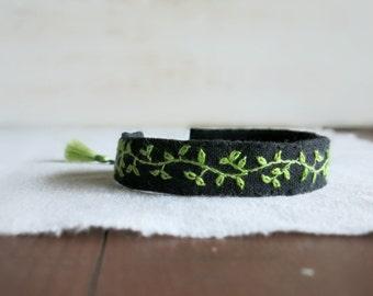 Verdant Vine Bracelet - Green Gradient Vine Embroidered on Black Linen - Embroidered Cuff Bracelet