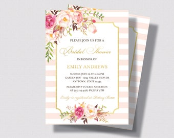 BRIDAL SHOWER INVITATION Blush Pink and Gold | Bridal Shower Invitation Watercolor Floral  with Roses | Shabby Chic Bridal Shower Invitation